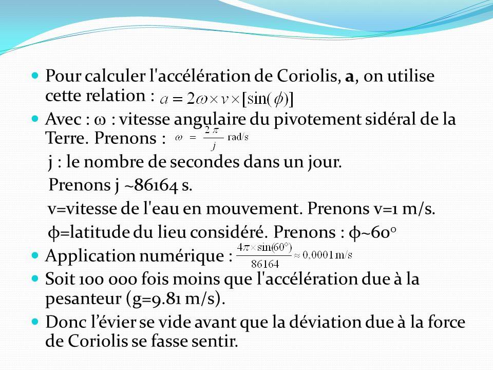 Pour calculer l accélération de Coriolis, a, on utilise cette relation : Avec : : vitesse angulaire du pivotement sidéral de la Terre.