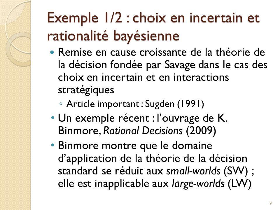 Exemple 1/2 : choix en incertain et rationalité bayésienne Remise en cause croissante de la théorie de la décision fondée par Savage dans le cas des choix en incertain et en interactions stratégiques Article important : Sugden (1991) Un exemple récent : louvrage de K.