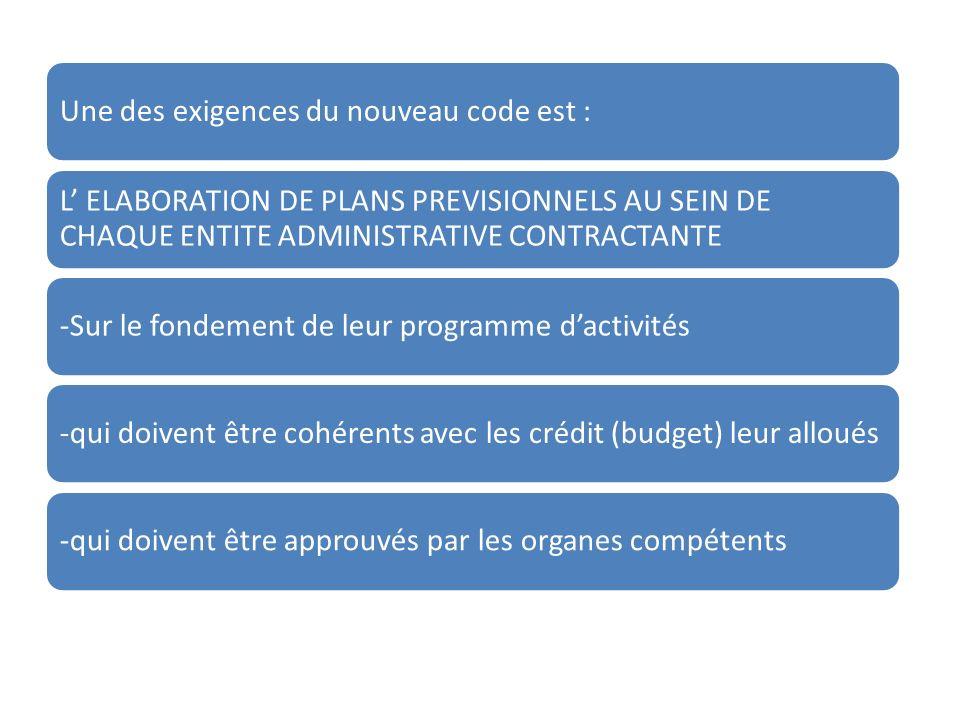 Une des exigences du nouveau code est : L ELABORATION DE PLANS PREVISIONNELS AU SEIN DE CHAQUE ENTITE ADMINISTRATIVE CONTRACTANTE -Sur le fondement de leur programme dactivités-qui doivent être cohérents avec les crédit (budget) leur alloués-qui doivent être approuvés par les organes compétents