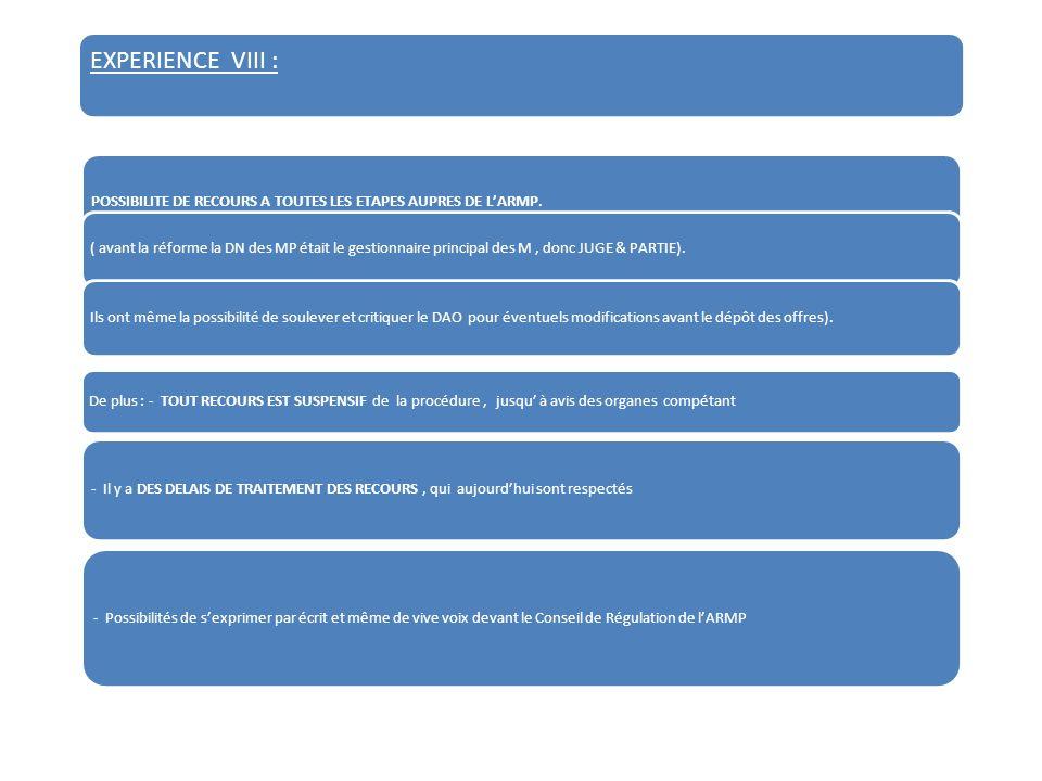 EXPERIENCE VIII : POSSIBILITE DE RECOURS A TOUTES LES ETAPES AUPRES DE LARMP.