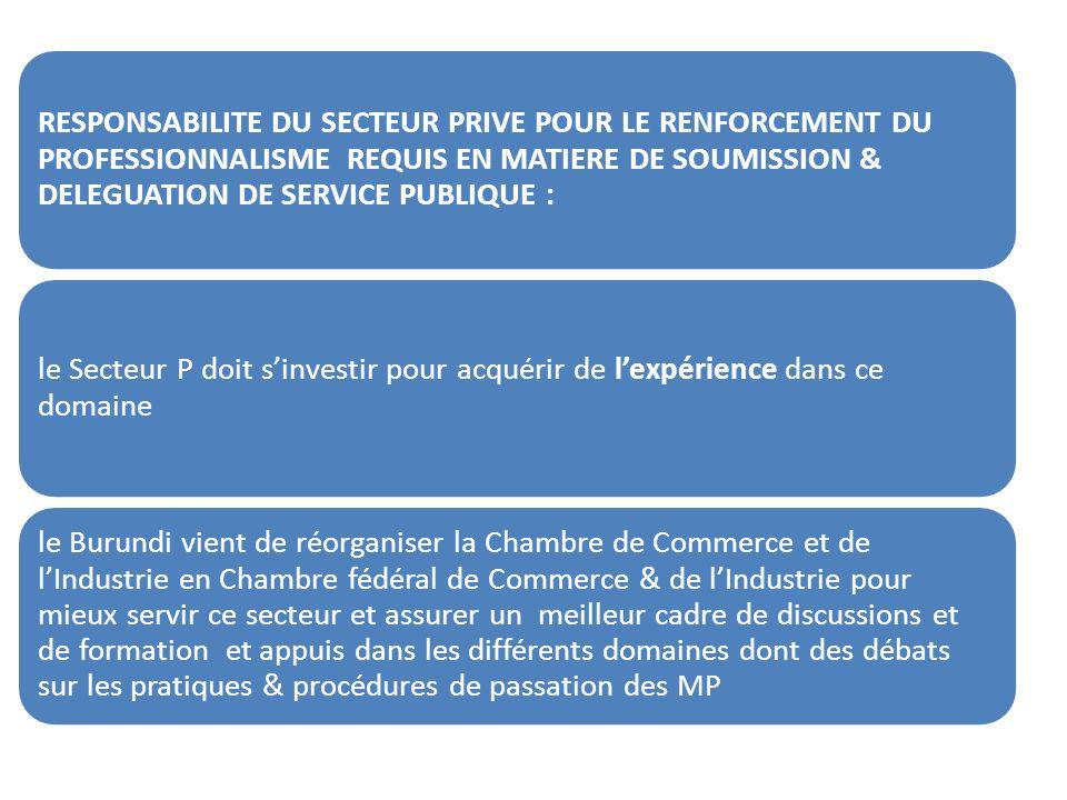 RESPONSABILITE DU SECTEUR PRIVE POUR LE RENFORCEMENT DU PROFESSIONNALISME REQUIS EN MATIERE DE SOUMISSION & DELEGUATION DE SERVICE PUBLIQUE : le Secteur P doit sinvestir pour acquérir de lexpérience dans ce domaine le Burundi vient de réorganiser la Chambre de Commerce et de lIndustrie en Chambre fédéral de Commerce & de lIndustrie pour mieux servir ce secteur et assurer un meilleur cadre de discussions et de formation et appuis dans les différents domaines dont des débats sur les pratiques & procédures de passation des MP