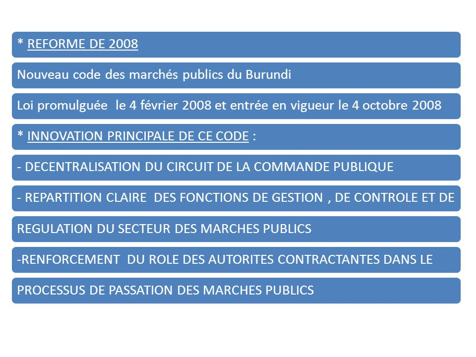 * REFORME DE 2008Nouveau code des marchés publics du BurundiLoi promulguée le 4 février 2008 et entrée en vigueur le 4 octobre 2008* INNOVATION PRINCIPALE DE CE CODE :- DECENTRALISATION DU CIRCUIT DE LA COMMANDE PUBLIQUE - REPARTITION CLAIRE DES FONCTIONS DE GESTION, DE CONTROLE ET DE REGULATION DU SECTEUR DES MARCHES PUBLICS-RENFORCEMENT DU ROLE DES AUTORITES CONTRACTANTES DANS LEPROCESSUS DE PASSATION DES MARCHES PUBLICS