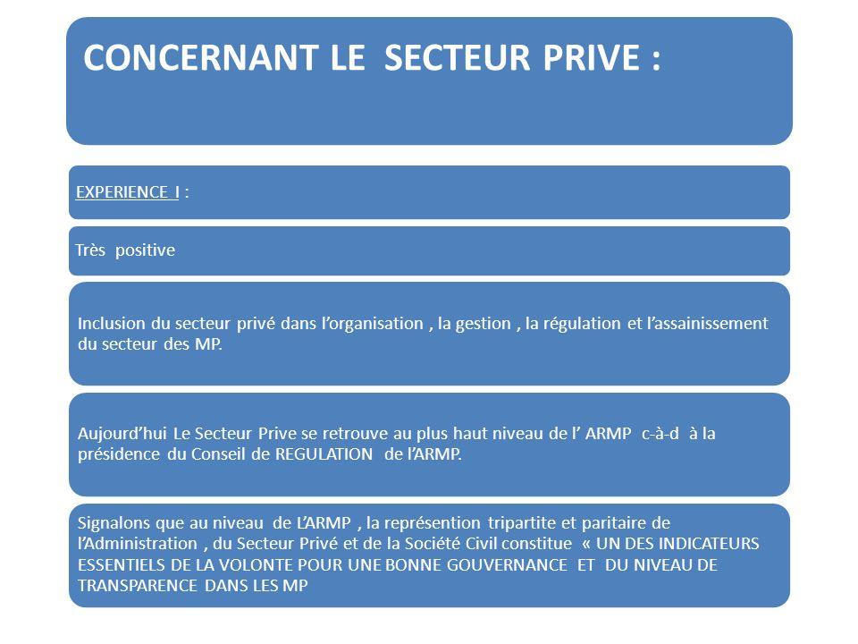 CONCERNANT LE SECTEUR PRIVE : EXPERIENCE I : Très positive Inclusion du secteur privé dans lorganisation, la gestion, la régulation et lassainissement du secteur des MP.