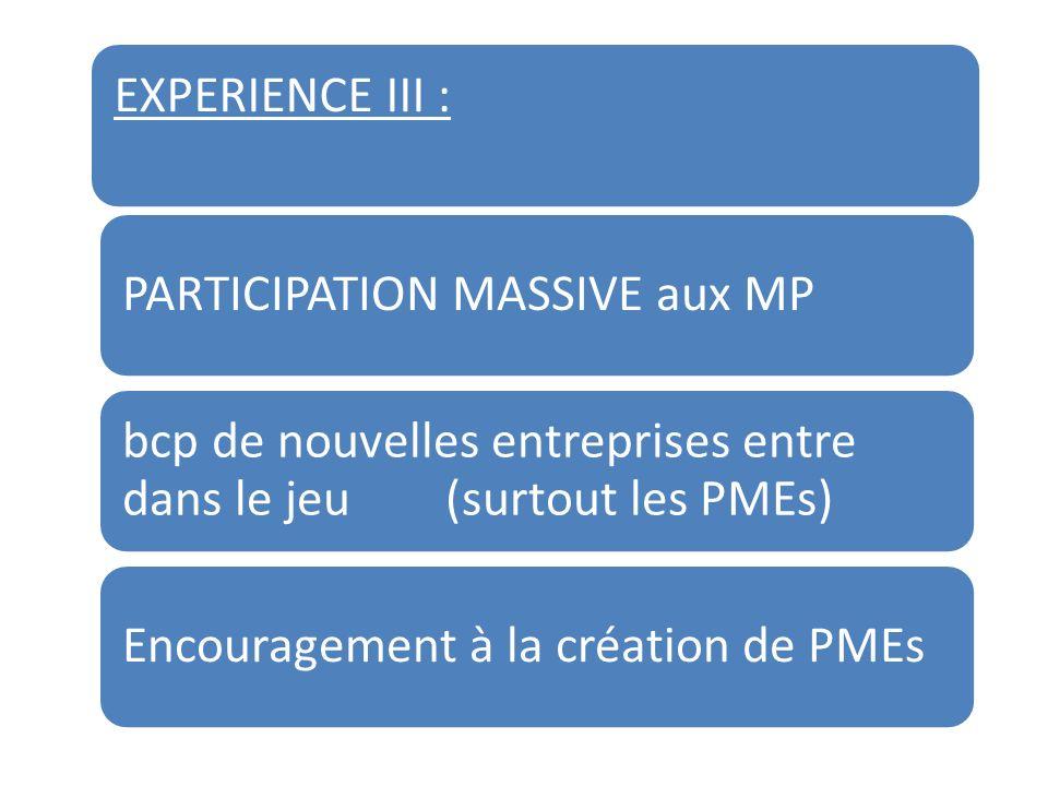 EXPERIENCE III : PARTICIPATION MASSIVE aux MP bcp de nouvelles entreprises entre dans le jeu (surtout les PMEs) Encouragement à la création de PMEs