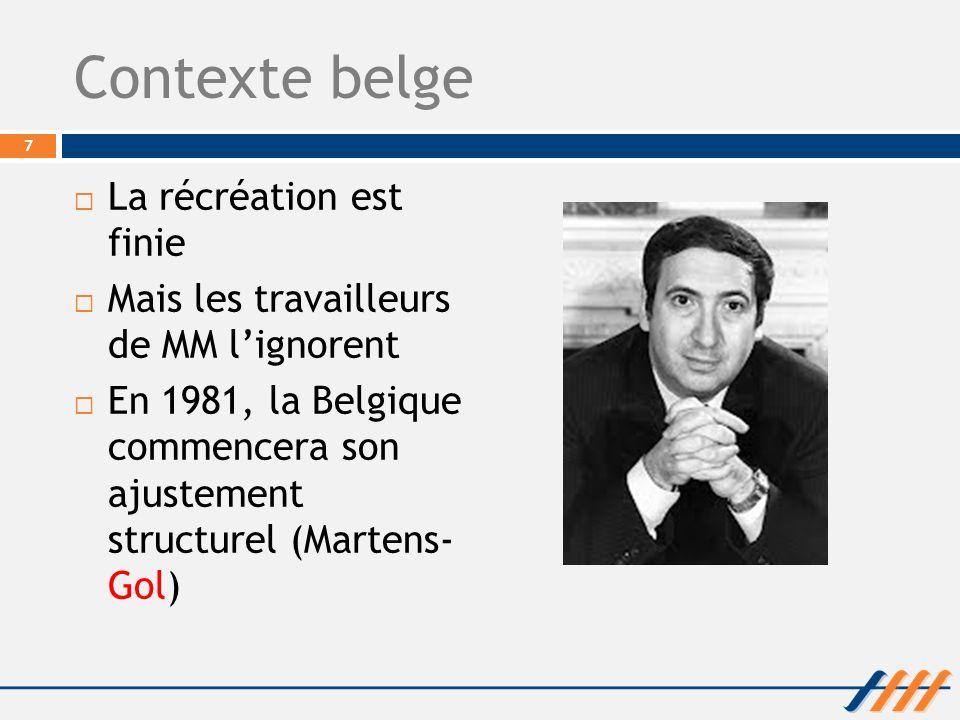 Contexte belge La récréation est finie Mais les travailleurs de MM lignorent En 1981, la Belgique commencera son ajustement structurel (Martens- Gol)
