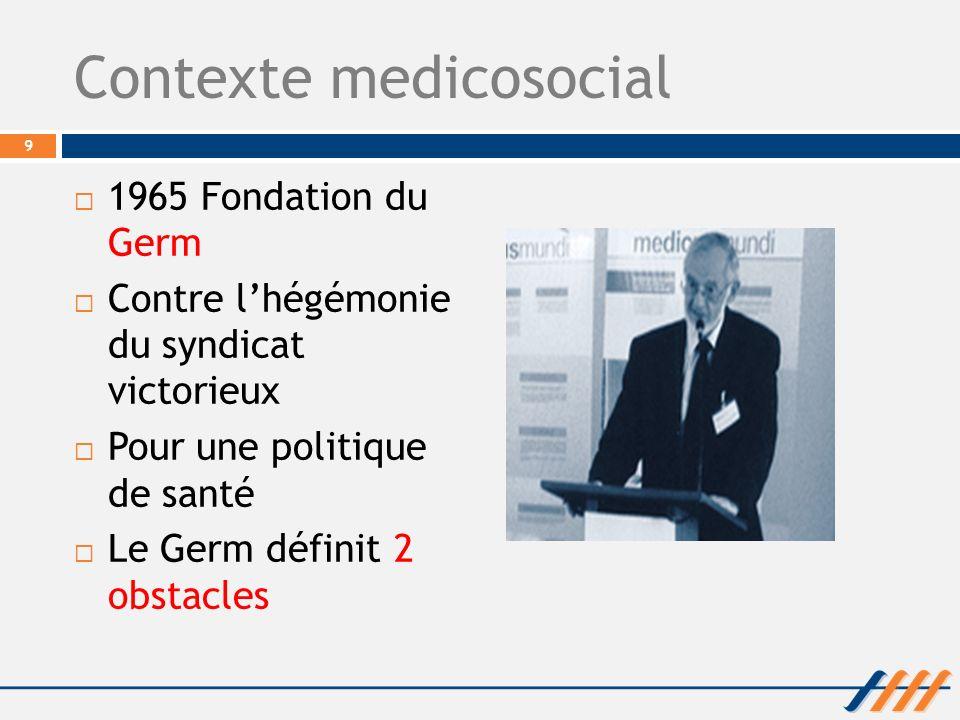 Contexte medicosocial 1965 Fondation du Germ Contre lhégémonie du syndicat victorieux Pour une politique de santé Le Germ définit 2 obstacles 9