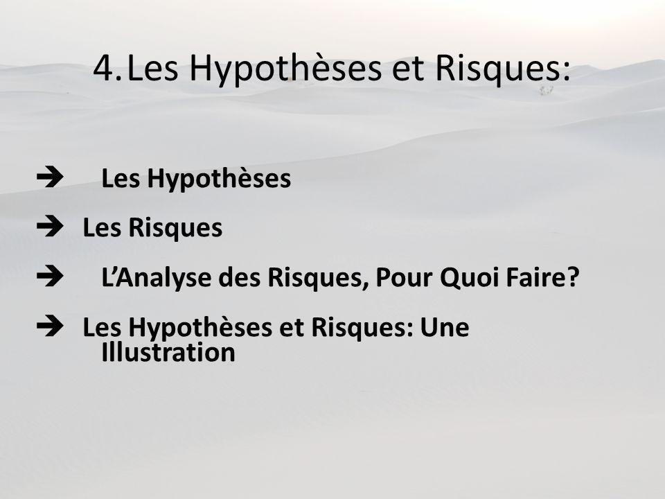 4.Les Hypothèses et Risques: Les Hypothèses Les Risques LAnalyse des Risques, Pour Quoi Faire? Les Hypothèses et Risques: Une Illustration