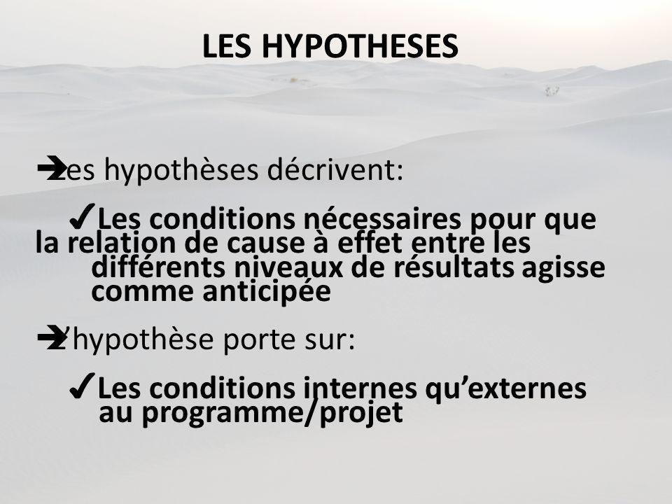 LES HYPOTHESES Les hypothèses décrivent: Les conditions nécessaires pour que la relation de cause à effet entre les différents niveaux de résultats agisse comme anticipée Lhypothèse porte sur: Les conditions internes quexternes au programme/projet