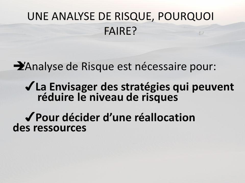 UNE ANALYSE DE RISQUE, POURQUOI FAIRE.