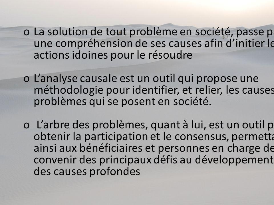 oLa solution de tout problème en société, passe par une compréhension de ses causes afin dinitier les actions idoines pour le résoudre oLanalyse causa