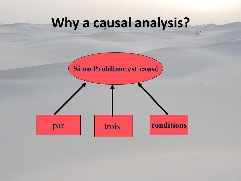 Si un Problème est causé par trois conditions Why a causal analysis?