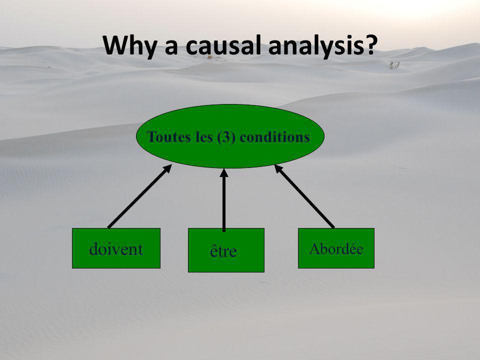 Toutes les (3) conditions doivent être Abordée Why a causal analysis?