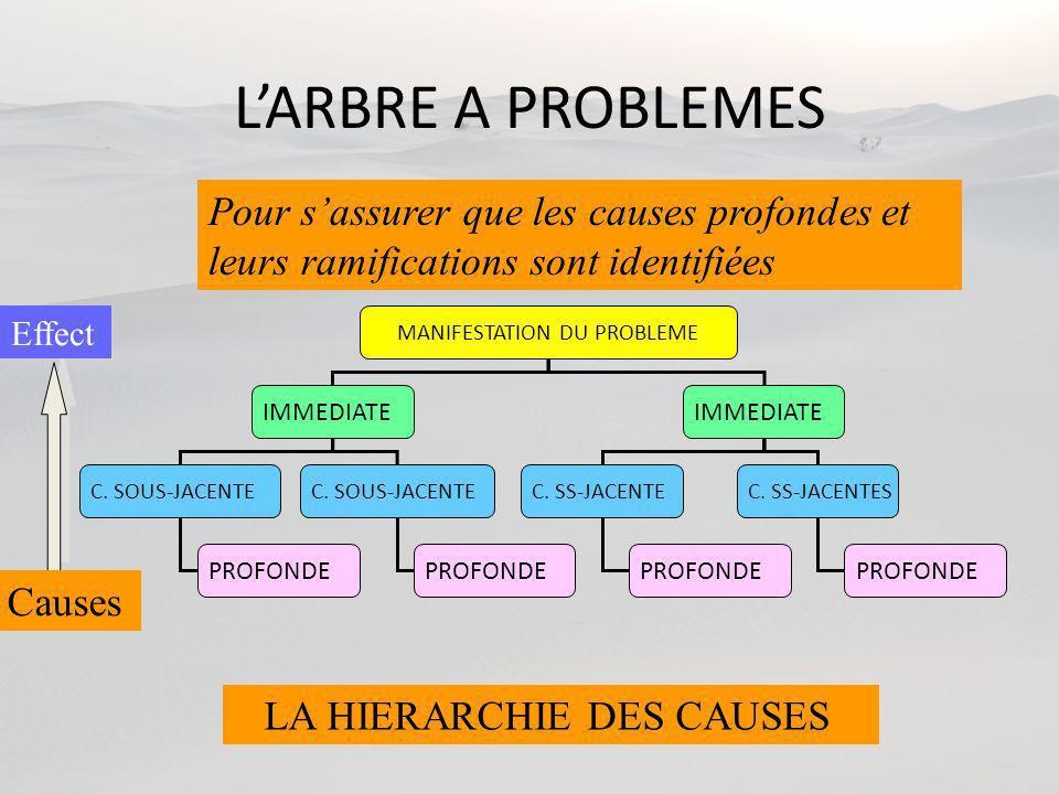LARBRE A PROBLEMES MANIFESTATION DU PROBLEME IMMEDIATE C. SOUS-JACENTE C. SS-JACENTEC. SS-JACENTES PROFONDE Causes Pour sassurer que les causes profon