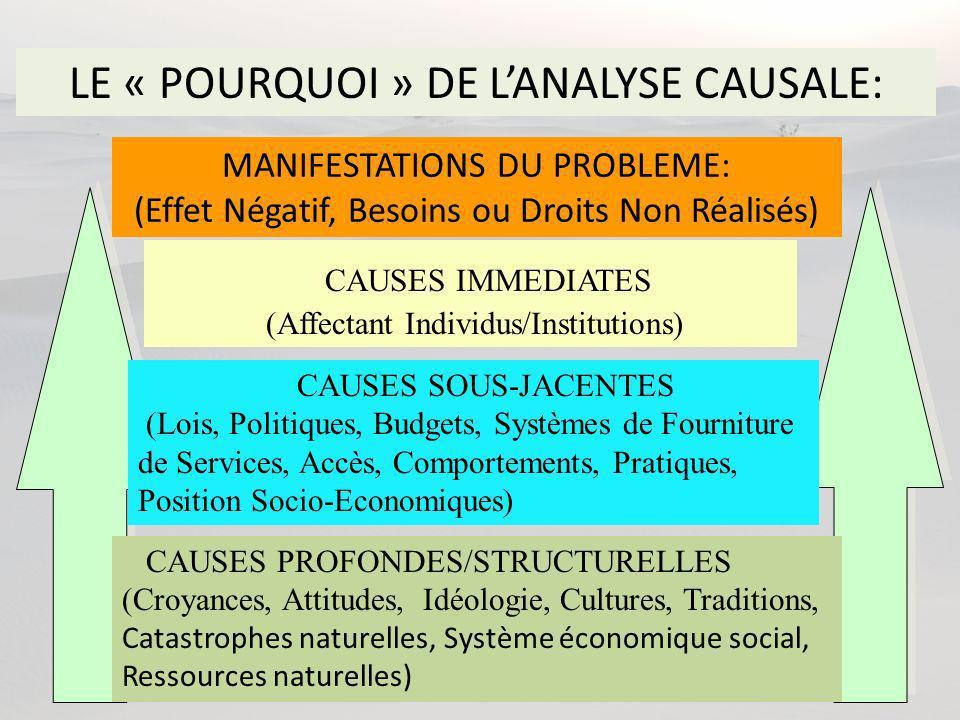 LE « POURQUOI » DE LANALYSE CAUSALE: CAUSES PROFONDES/STRUCTURELLES (Croyances, Attitudes, Idéologie, Cultures, Traditions, Catastrophes naturelles, Système économique social, Ressources naturelles) CAUSES SOUS-JACENTES (Lois, Politiques, Budgets, Systèmes de Fourniture de Services, Accès, Comportements, Pratiques, Position Socio-Economiques) CAUSES IMMEDIATES (Affectant Individus/Institutions) MANIFESTATIONS DU PROBLEME: (Effet Négatif, Besoins ou Droits Non Réalisés)