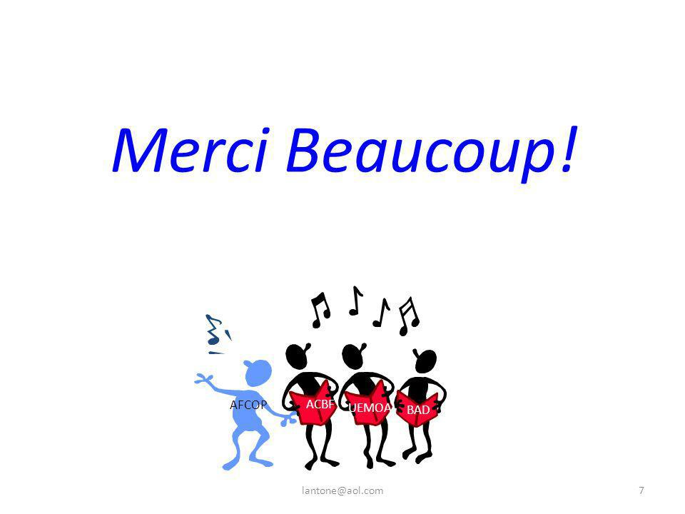 Merci Beaucoup! ACBF UEMOA BAD AFCOP 7lantone@aol.com