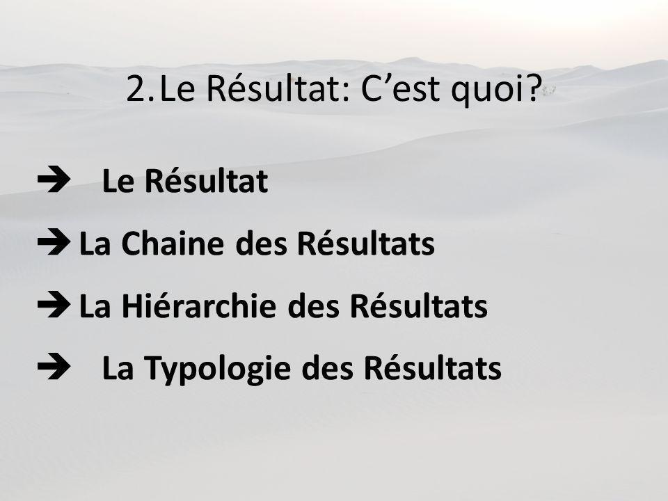 2.Le Résultat: Cest quoi? Le Résultat La Chaine des Résultats La Hiérarchie des Résultats La Typologie des Résultats