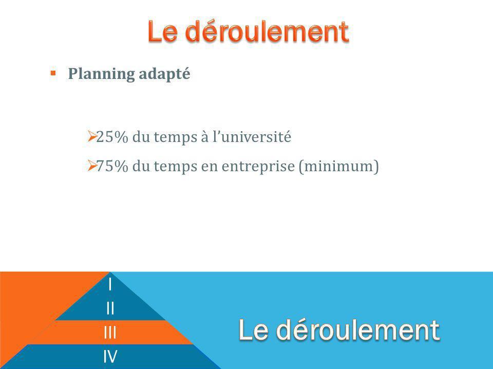 Planning adapté 25% du temps à luniversité 75% du temps en entreprise (minimum) I II III IV