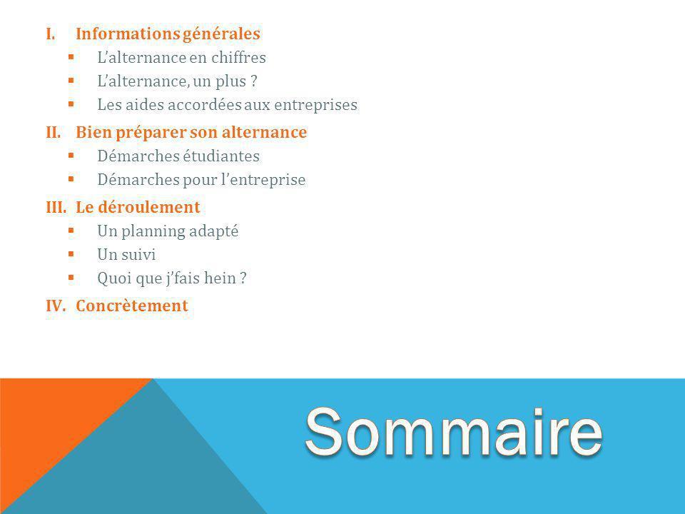 I.Informations générales Lalternance en chiffres Lalternance, un plus .