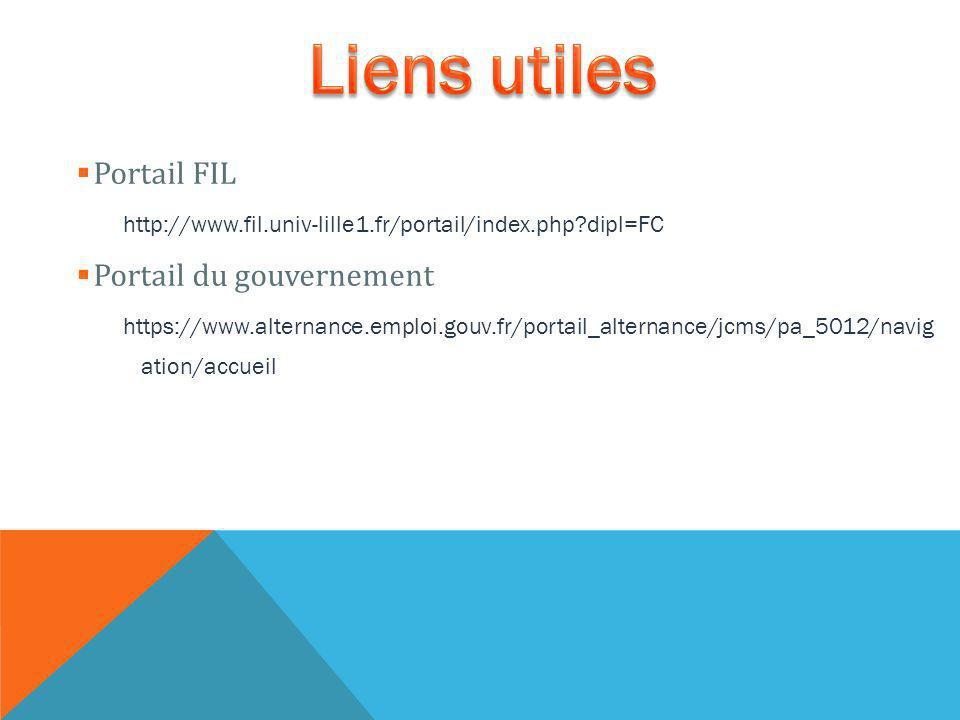 Portail FIL http://www.fil.univ-lille1.fr/portail/index.php dipl=FC Portail du gouvernement https://www.alternance.emploi.gouv.fr/portail_alternance/jcms/pa_5012/navig ation/accueil