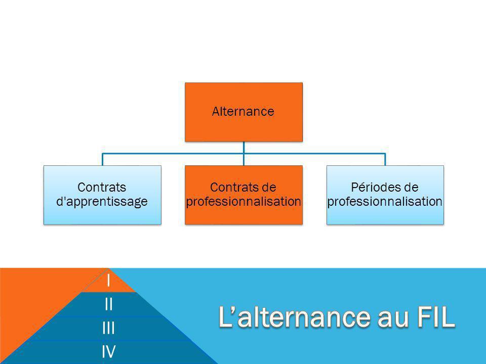 I II III IV Alternance Contrats d apprentissage Contrats de professionnalisation Périodes de professionnalisation