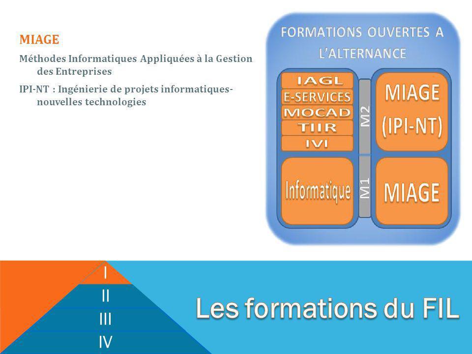 I II III IV MIAGE Méthodes Informatiques Appliquées à la Gestion des Entreprises IPI-NT : Ingénierie de projets informatiques- nouvelles technologies