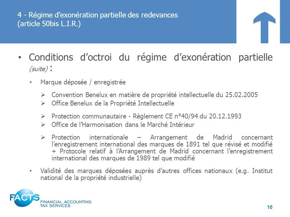 Conditions doctroi du régime dexonération partielle (suite) : Marque déposée / enregistrée Convention Benelux en matière de propriété intellectuelle d