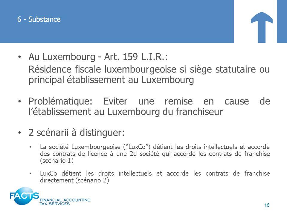 Au Luxembourg - Art. 159 L.I.R.: Résidence fiscale luxembourgeoise si siège statutaire ou principal établissement au Luxembourg Problématique: Eviter
