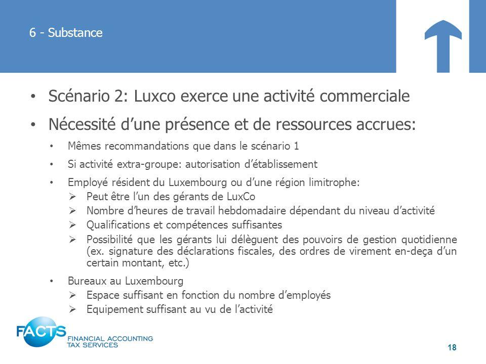 Scénario 2: Luxco exerce une activité commerciale Nécessité dune présence et de ressources accrues: Mêmes recommandations que dans le scénario 1 Si ac