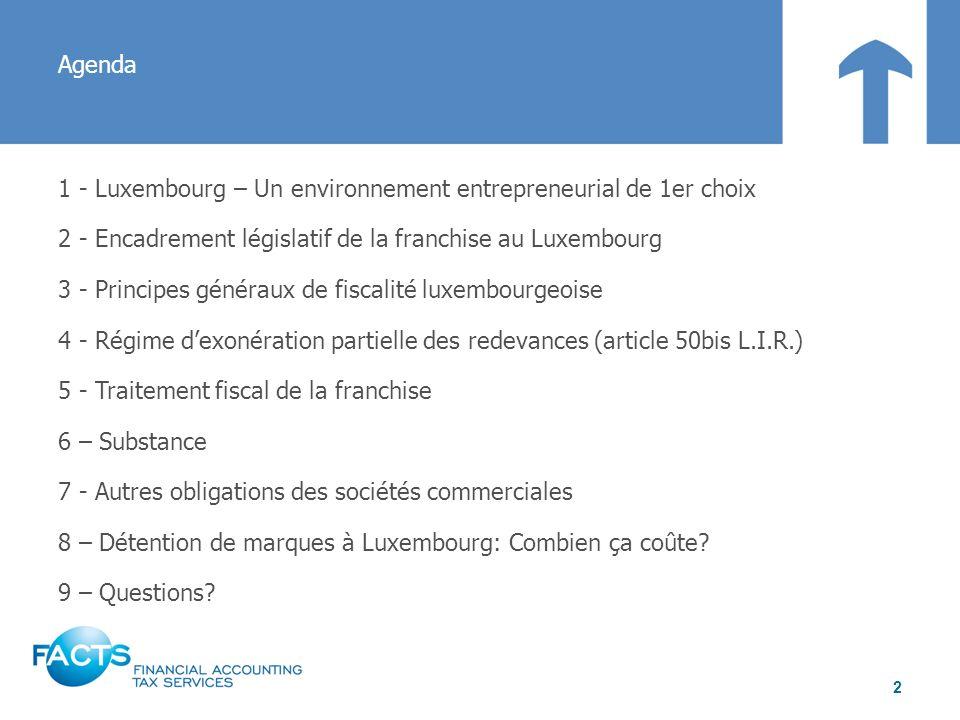 Agenda 1 - Luxembourg – Un environnement entrepreneurial de 1er choix 2 - Encadrement législatif de la franchise au Luxembourg 3 - Principes généraux