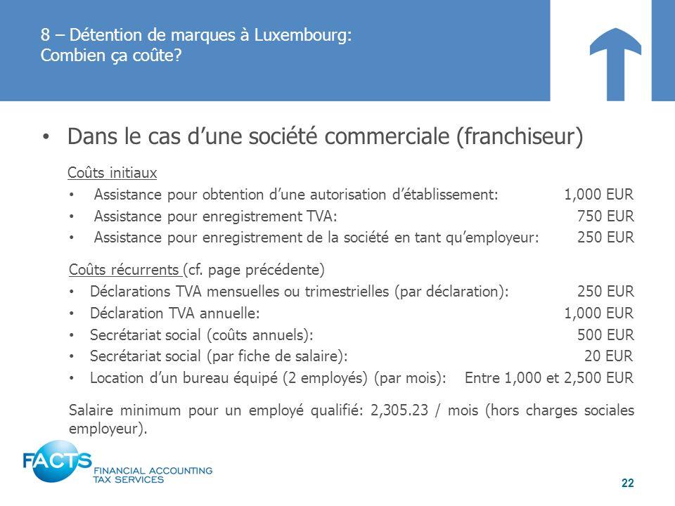 Dans le cas dune société commerciale (franchiseur) Coûts initiaux Assistance pour obtention dune autorisation détablissement:1,000 EUR Assistance pour