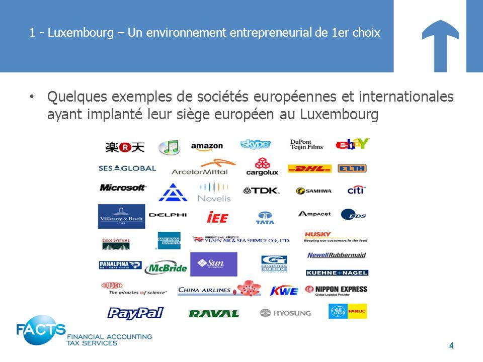 Quelques exemples de sociétés européennes et internationales ayant implanté leur siège européen au Luxembourg 1 - Luxembourg – Un environnement entrep
