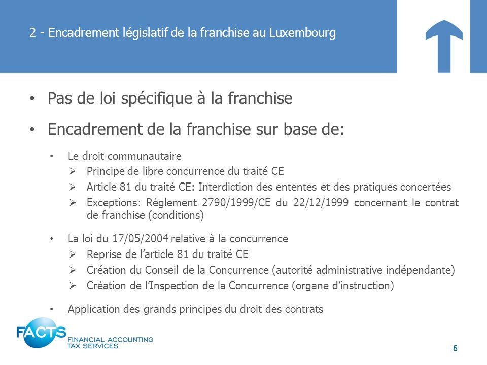 2 - Encadrement législatif de la franchise au Luxembourg Pas de loi spécifique à la franchise Encadrement de la franchise sur base de: Le droit commun