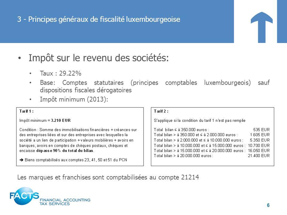 Impôt sur la fortune Taux: 0.5% Base: actifs nets ajustés Possibilité, sous conditions, de créditer limpôt sur le revenu des collectivités sur limpôt sur la fortune Impôt minimum (25 EUR ou 62 EUR) 3 - Principes généraux de fiscalité luxembourgeoise 7