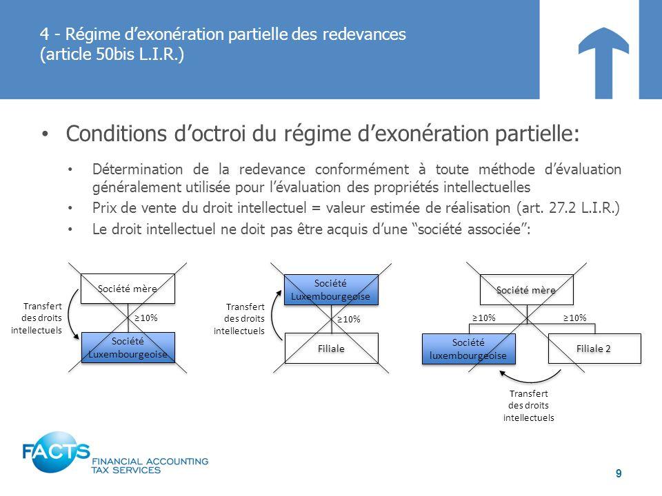 Conditions doctroi du régime dexonération partielle: Détermination de la redevance conformément à toute méthode dévaluation généralement utilisée pour