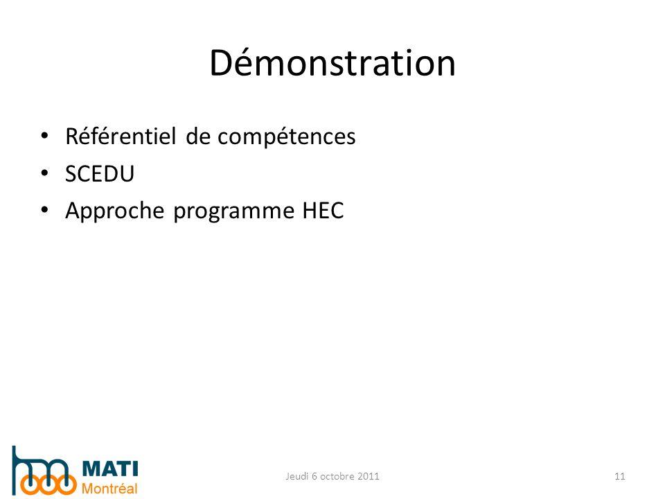Référentiel de compétences SCEDU Approche programme HEC Jeudi 6 octobre 201111 Démonstration