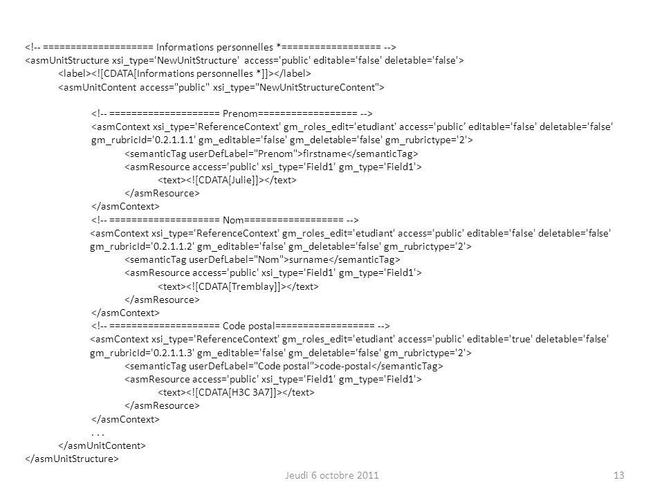 firstname surname code-postal... Jeudi 6 octobre 201113