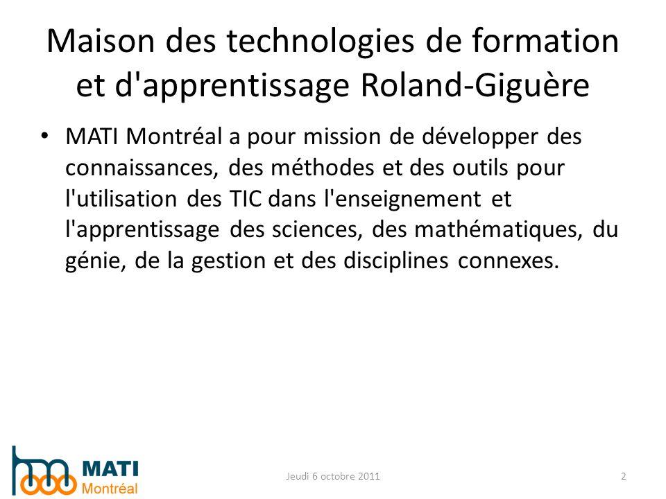 MATI Montréal a pour mission de développer des connaissances, des méthodes et des outils pour l'utilisation des TIC dans l'enseignement et l'apprentis