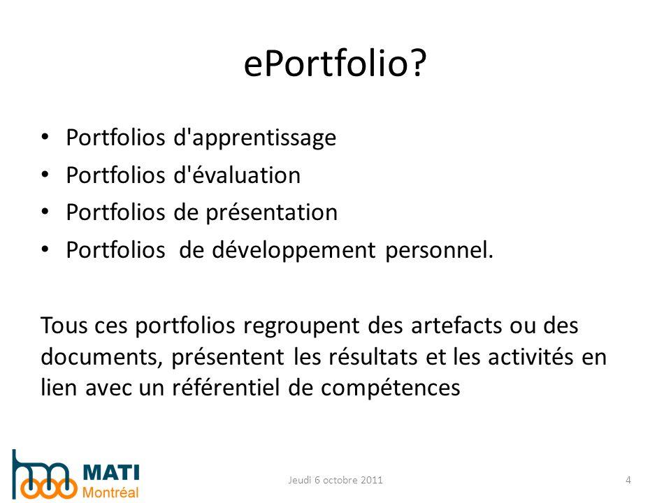 Portfolios d'apprentissage Portfolios d'évaluation Portfolios de présentation Portfolios de développement personnel. Tous ces portfolios regroupent de