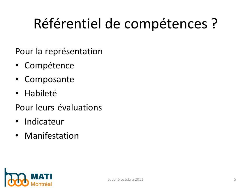 Pour la représentation Compétence Composante Habileté Pour leurs évaluations Indicateur Manifestation Jeudi 6 octobre 20115 Référentiel de compétences