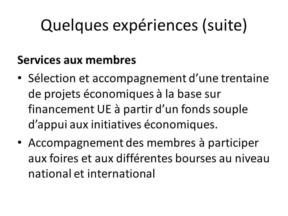 Quelques expériences (suite) Services aux membres Sélection et accompagnement dune trentaine de projets économiques à la base sur financement UE à partir dun fonds souple dappui aux initiatives économiques.