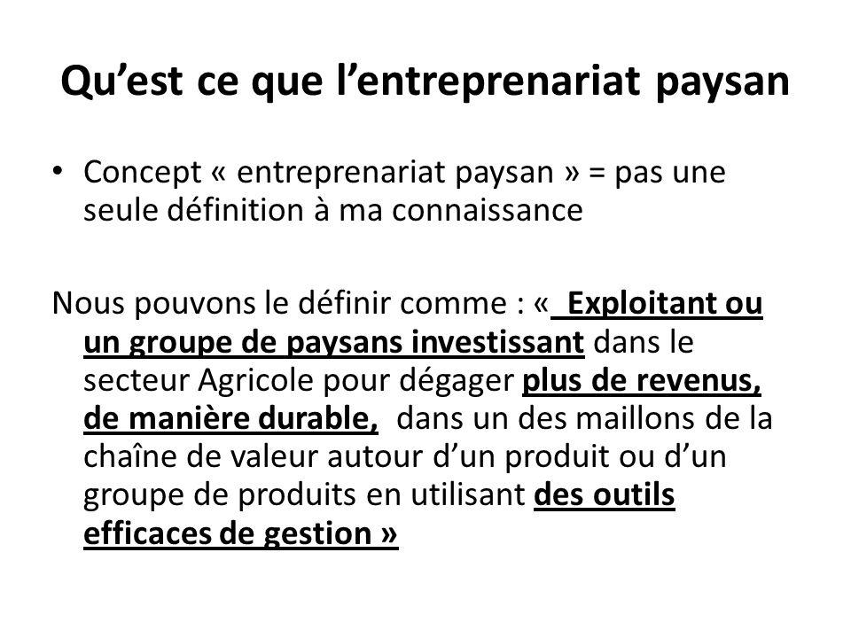 Quest ce que lentreprenariat paysan Concept « entreprenariat paysan » = pas une seule définition à ma connaissance Nous pouvons le définir comme : « E