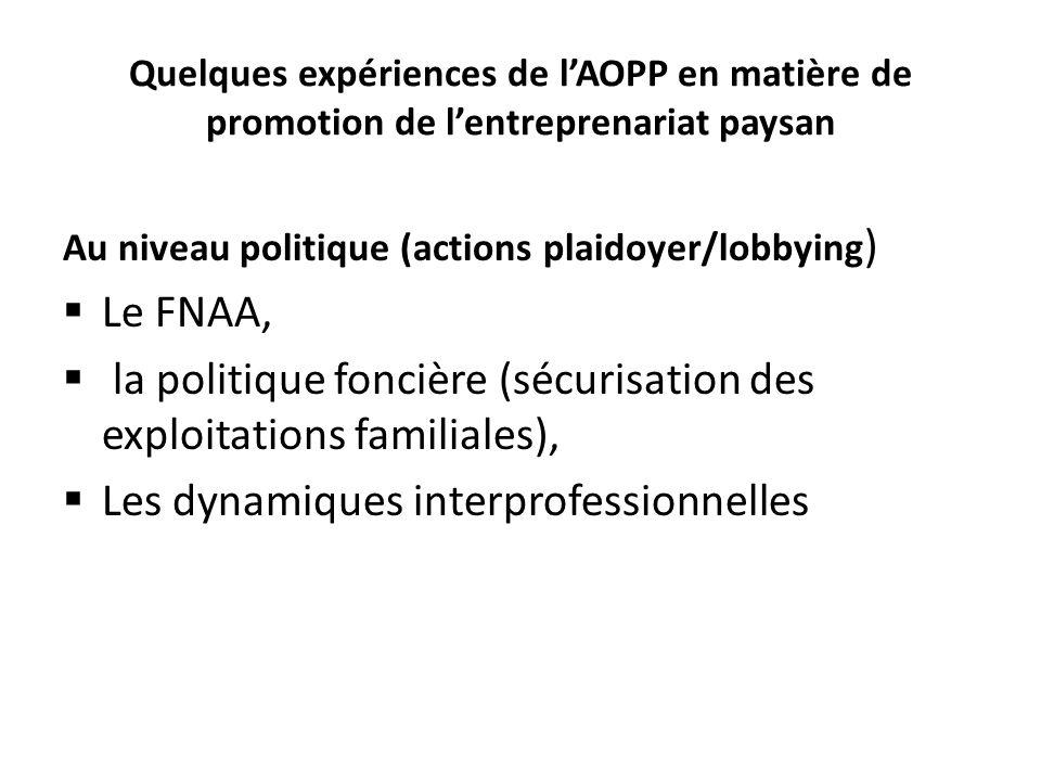 Quelques expériences de lAOPP en matière de promotion de lentreprenariat paysan Au niveau politique (actions plaidoyer/lobbying ) Le FNAA, la politique foncière (sécurisation des exploitations familiales), Les dynamiques interprofessionnelles