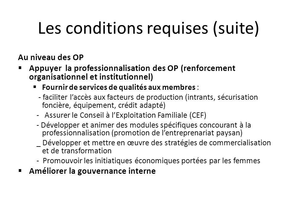Les conditions requises (suite) Au niveau des OP Appuyer la professionnalisation des OP (renforcement organisationnel et institutionnel) Fournir de se