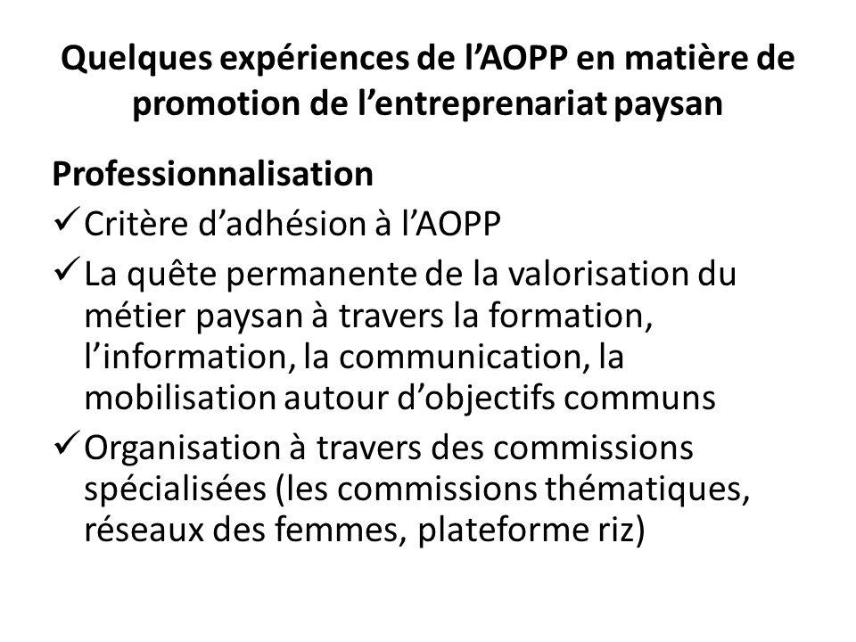 Quelques expériences de lAOPP en matière de promotion de lentreprenariat paysan Professionnalisation Critère dadhésion à lAOPP La quête permanente de