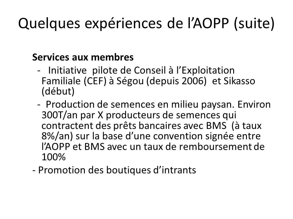 Quelques expériences de lAOPP (suite) Services aux membres - Initiative pilote de Conseil à lExploitation Familiale (CEF) à Ségou (depuis 2006) et Sikasso (début) - Production de semences en milieu paysan.
