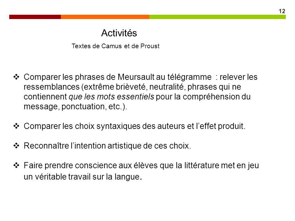 12 Activités Textes de Camus et de Proust Comparer les phrases de Meursault au télégramme : relever les ressemblances (extrême brièveté, neutralité, p