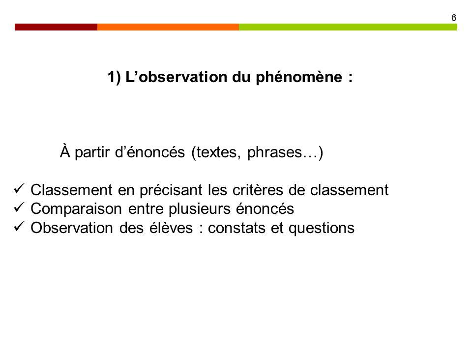 6 1) Lobservation du phénomène : À partir dénoncés (textes, phrases…) Classement en précisant les critères de classement Comparaison entre plusieurs é