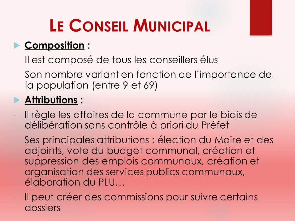 L E C ONSEIL M UNICIPAL Composition : Il est composé de tous les conseillers élus Son nombre variant en fonction de limportance de la population (entr