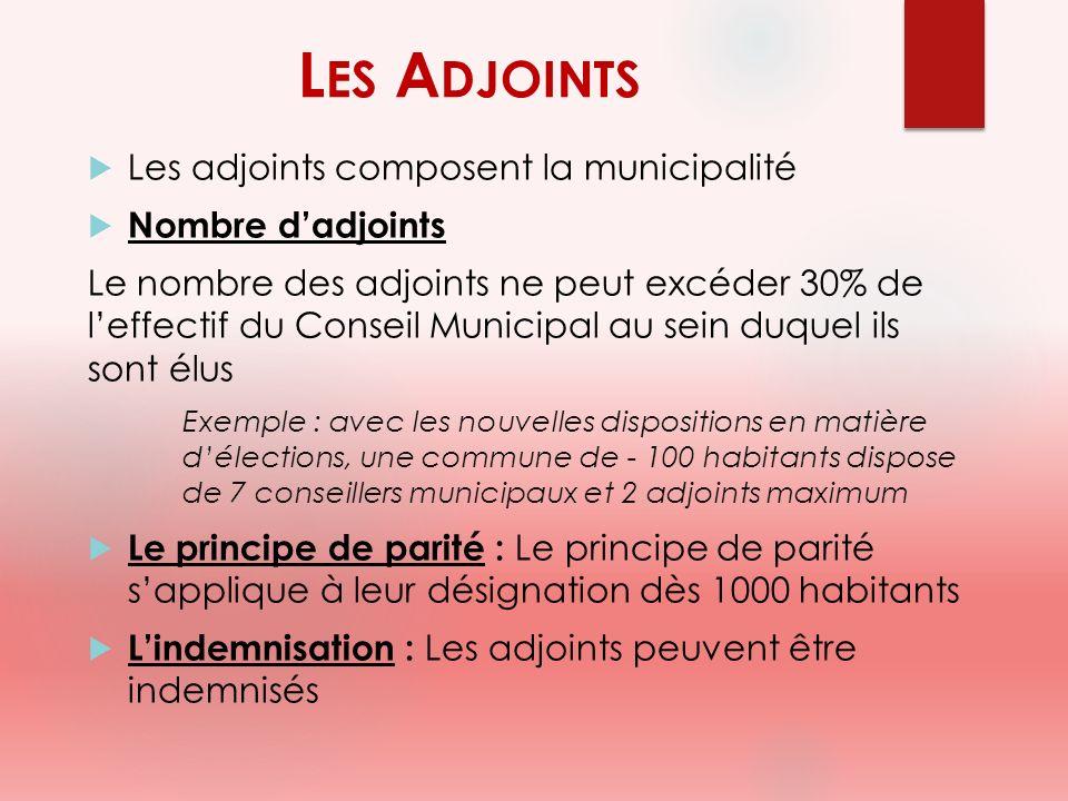 L ES A DJOINTS Les adjoints composent la municipalité Nombre dadjoints Le nombre des adjoints ne peut excéder 30% de leffectif du Conseil Municipal au