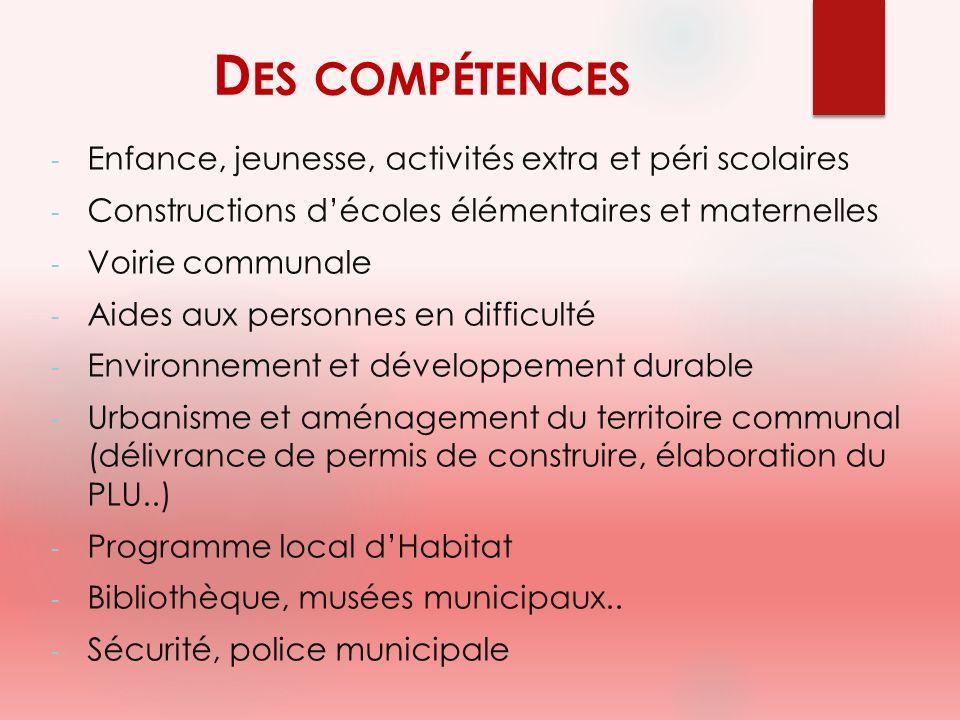 D ES COMPÉTENCES - Enfance, jeunesse, activités extra et péri scolaires - Constructions décoles élémentaires et maternelles - Voirie communale - Aides
